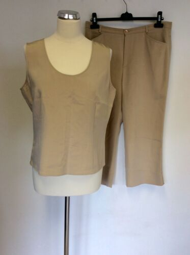 CERRUTI 1881 BEIGE SILK SLEEVELESS TOP & CROP TROUSERS SIZE 16