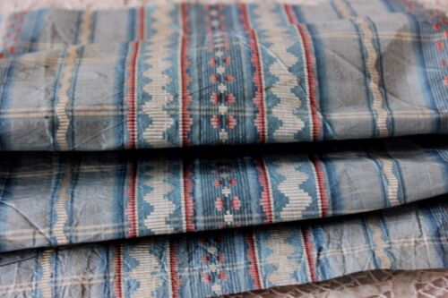 Antique 18thC Woven French Blue Silk Ikat Fabric c1770-80~Dolls,Apparel,Home