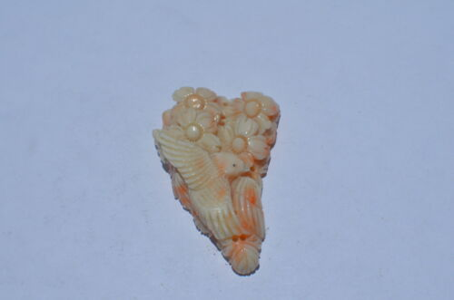 VINTAGE ANGEL SKIN CORAL, HAND CARVED, MUSEUM QUALITY, GRADE A, 100% UNTREATED