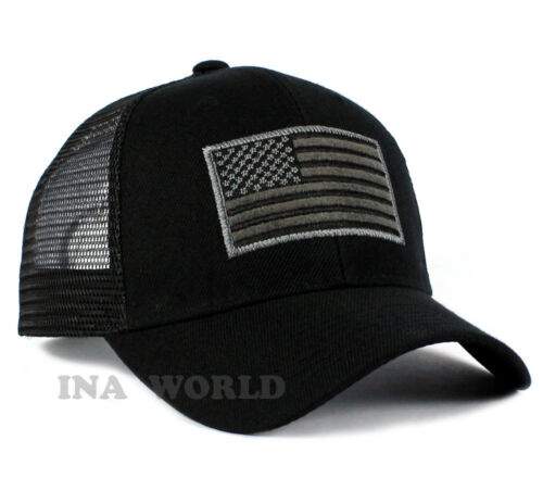 USA American Flag hat Mesh ARMY Tactical Operator Snapback Baseball cap- Black