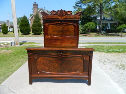 High Back Walnut and Burl Victorian Bed~~FULL SIZE~~ circa 1875