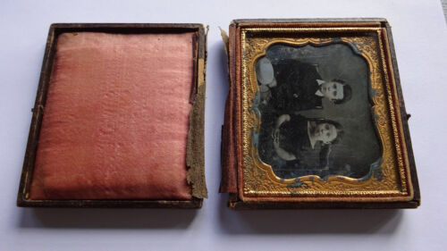 "1/6 Plate 2 3/4"" x 3 1/4"" Daguerreotype 1850s Brother & Sister"