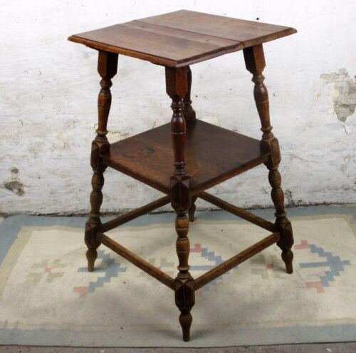 Vintage Two Tier Pedestal Display Plant Stand Nightstand Side table Carved Wood