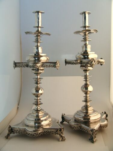 Spanish Colonial Silver Altar Candlesticks Baroque Figural 1700
