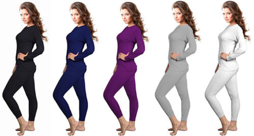 Womens 2pc Microfiber Thermal Underwear Set Long Johns Top & Bottom S to 2XL