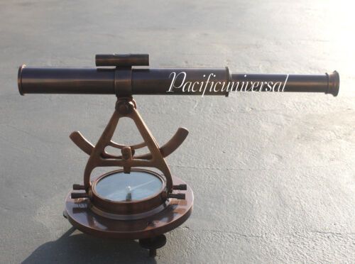 VINTAGE MARITIME ALIDATE TELESCOPE WITH COMPASS  FULL ANTIQUE  ASTROLABE DECOR.