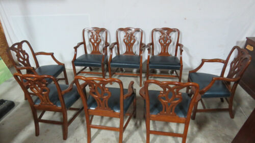 Baker Dining Room Chairs Mahogany Chippendale Arm Chairs Rare