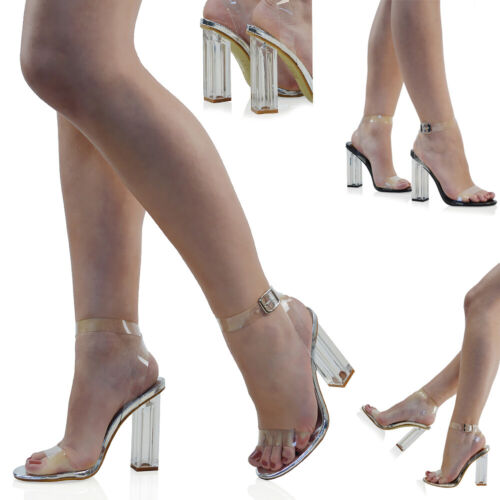 Womens High Heel Ankle Strap Sandals Perspex Ladies Clear Block Heel Party Shoes <br/> FREE UK DELIVERY !!!!!!!!!!!!!!!!!!!!!!!!!!