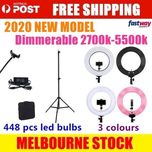 """19"""" ES448 5500K Dimmable Diva LED Ring Light with Diffuser Stand Make Up Studio"""