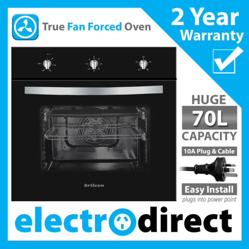 Brilcon 60cm Electric Fan Forced Wall Oven 70L with 10amp Plugs into Power Point <br/> Full Black Glass Suits Induction, Cermaic, Gas Cooktops