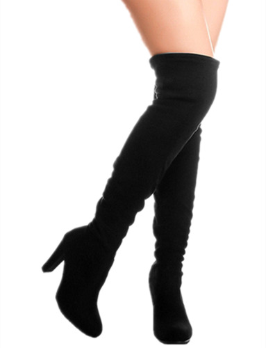 Forever Dasia-H1 Women's Stacked Chunky Heel Stretch Thigh High Pull On Boots