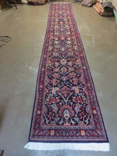 "2' 5"" X 15' 5"" Vintage Persian Blue Sarouk Sarough Hand Made Wool Runner Rug Wow"