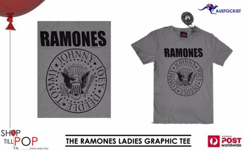 THE RAMONES LADIES GRAPHIC TEE GREY LICENSED 1-2-3-4 BNWT PUNK HIPSTER CLASSIC