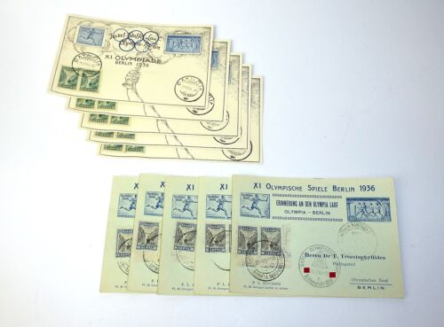10 x Postcards Olympia Berlin Xi Olympic Games Berlin 1936 Stamps 1936