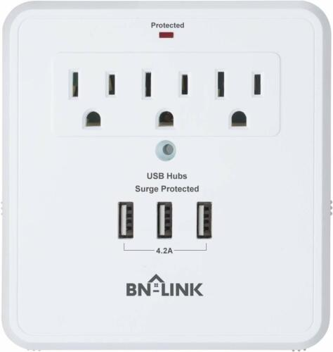 BN-LINK Wall Mount Surge Protector with Triple USB Charging Ports, 3 Outlets