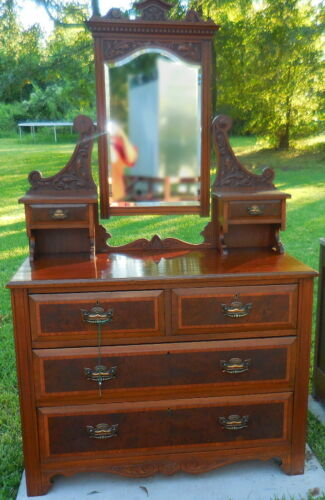Antique Vanity Dresser with Beveled Mirror Six Drawers Includes Key