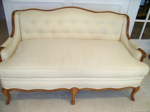 Ethan Allen Upholstered Club Loveseat Exposed Mahogany Arms & Feet