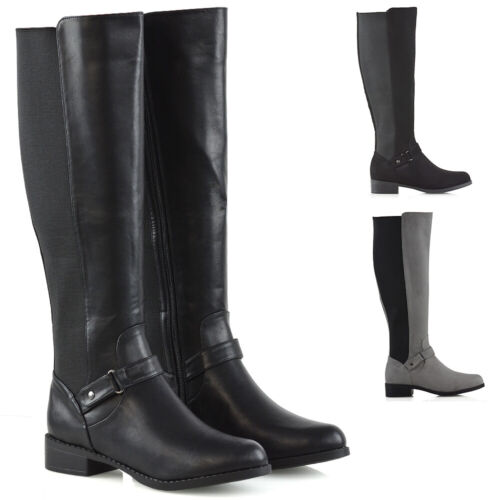 Womens Knee High Flat Low Heel Ladies Zip Buckle Stretch Leg Calf Boots Size 3-8