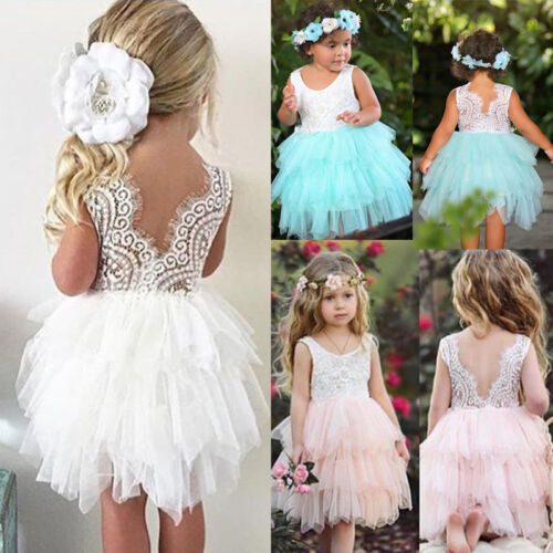 Kid Baby Girl Party Pageant Formal Dresses Tulle Tutu Lace Backless Dresses g