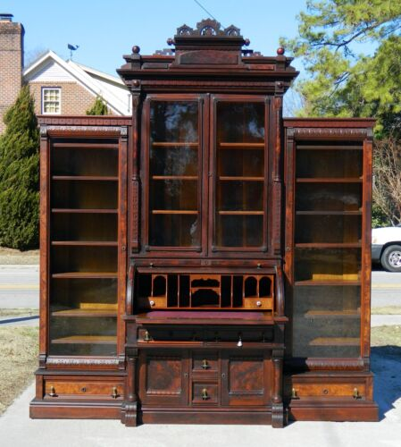 Walnut Victorian Cylinder Roll Secretary w/Bookcase Top and Side Bookcases c1870