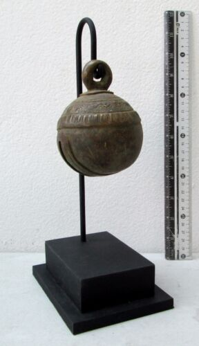 RUSTIC Old Karen Hill Tribe Bronze Round Elephant Bell & Stand 465g