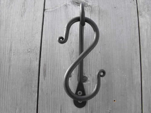 """Colonial forged wrought iron 4"""" S hooks hand made custom smith shop."""