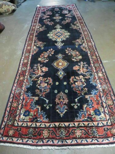 "3' 7"" X 10' 9"" Antique Hand Made Persian Blue Sarouk Wool Runner Rug  # 130 Nice"