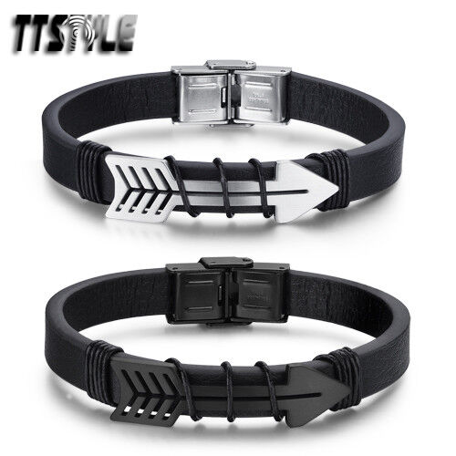 TTstyle Black Leather 316L Stainless Steel Arrow Bracelet Wrstiband Silver/Black