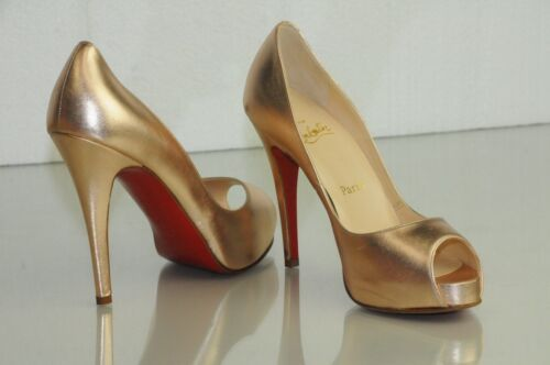 b091728acda3ce New CHRISTIAN LOUBOUTIN VERY PRIVE ROSE GOLD NUDE Peep Toe Pumps SHOES 36.5  37.5