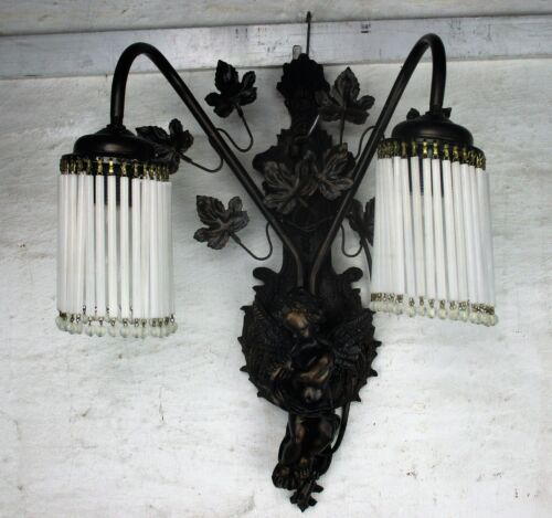 Gorgeous Double Large Wall Sconce Putti Angel Playing Flute Rococo Resin HTF