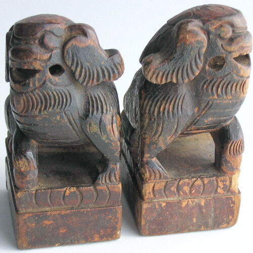 Vintage / Antique Chinese Asian Carved Wood Foo Fu Shi Temple Dogs