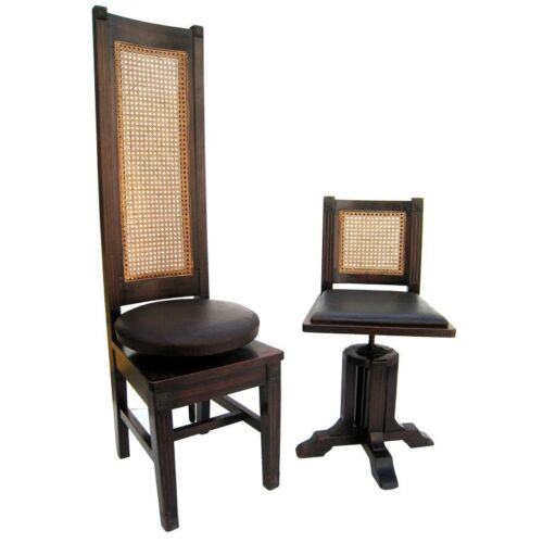RARE Antique Set of Physician and Patient Examination Chairs Arts & Crafts MCM