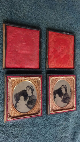 "RARE sequential pair Post Mortem Ambrotypes 1/6 Plate 2-3/4"" x 3-1/4"""