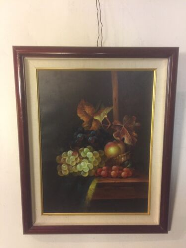 """Painting, Oil On Canvas Grapes & berries21""""X17"""". C12pix4details& size.MAKE OFFER"""