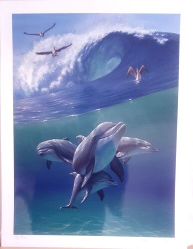 """Charles """"Chick"""" Lynn Bragg-""""Under the Waves""""  Mixed Media S/N with Cert of Auth"""