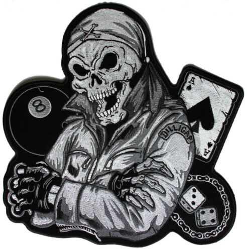 DEATH SKULL ACE & EIGHTBALL Outlaw Military Biker Jacket Vest Large Back Patch Marine Corps - 66531