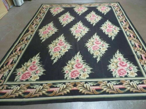 7' X 9' Handmade French Country Garden Needlepoint Rug Flat Weave Flowers # 825