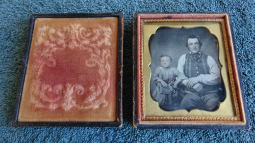 "1/6 Plate 2 3/4"" x 3 1/4"" Daguerreotype 1850s Tinted Father Daughter Eagle Case"