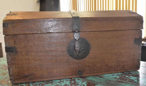 ANTIQUE SPANISH COLONIAL WOODEN CHEST 1770'S
