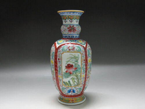 Chinese Famille Rose porcelain Vase Painted Many flowers four face picture Vase
