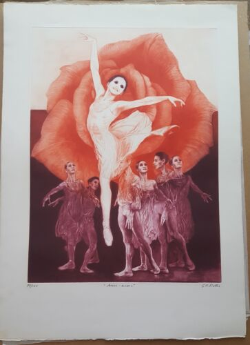"""G.H.Rothe """"Arise-Arose"""" S/N done in Mezotint etching with Cert of Auth"""