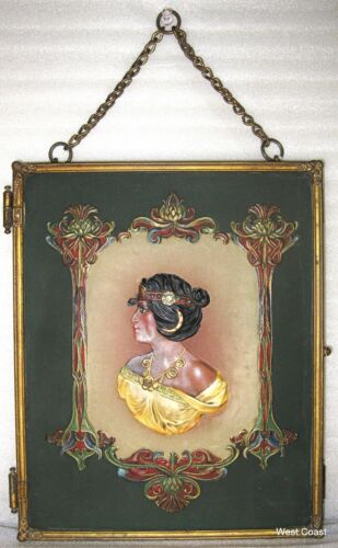 Egyptian Triptych 19 Century Tri-fold Vanity Mirror Victorian Cameo relief Style