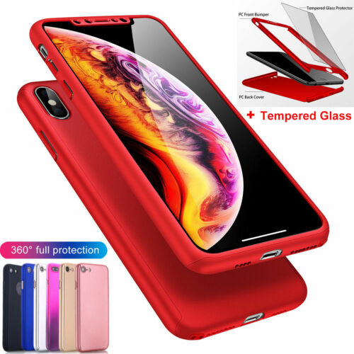 For iPhone X 6 6S 7 8 Plus 360° Shockproof Hybrid Case Cover+Screen Protector