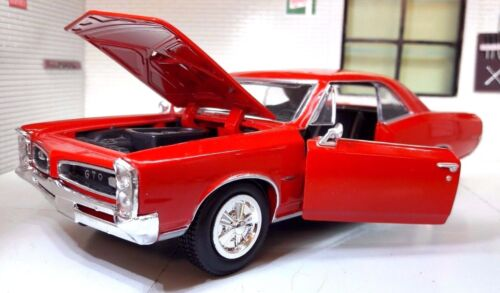 G LGB 1:24 Echelle 1966 Pontiac Gto Hardtop V8 Rouge Voiture Miniature New Ray