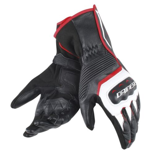 GUANTI IN PELLE MOTO DAINESE * ASSEN GLOVES BLACK/WHITE/RED-LAVA - 1815887 A66