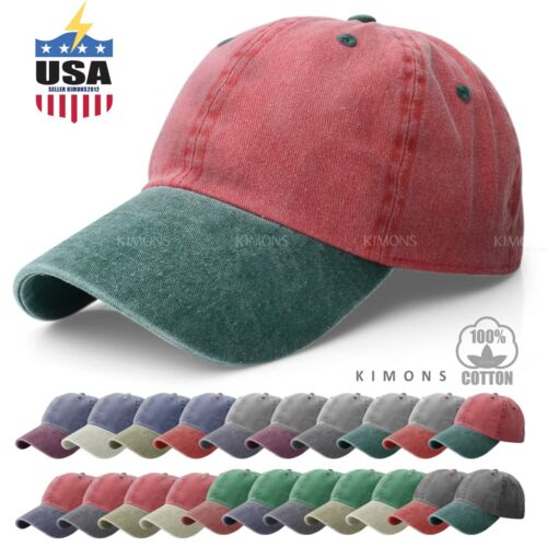 Pigment Dyed Baseball Ball Cap Washed 2Two Tone Cotton Vintage Hat Dad Summer