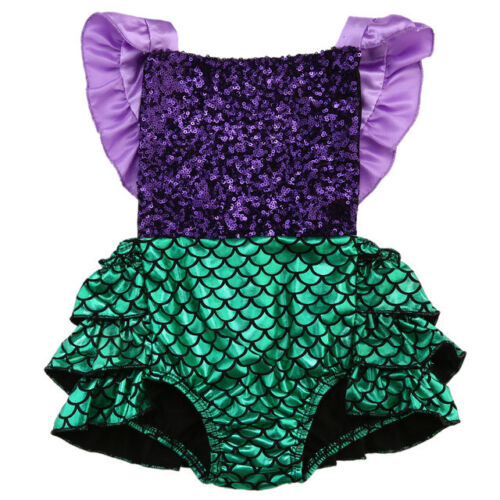 NWT Baby Girl Mermaid Sequin Purple Shimmer Green Ruffle Romper Jumpsuit Outfit