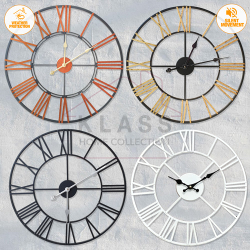 LARGE SKELETON HOME GARDEN WALL CLOCK ROMAN NUMERAL OPEN FACE MODERN METAL ROUND <br/> Size:40/60 /70CM, Outdoor SILENT Clocks / UK Dispatch
