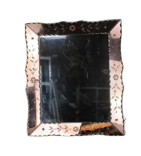Venetian Mirror Ornate  Etched Cut to Clear Glass Panels Pink Clear Art Nouveau