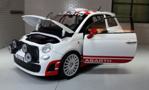 LGB G Échelle 1:24 Fiat 500 Abarth Blanc Rally R3T 2009 Motormax Voiture